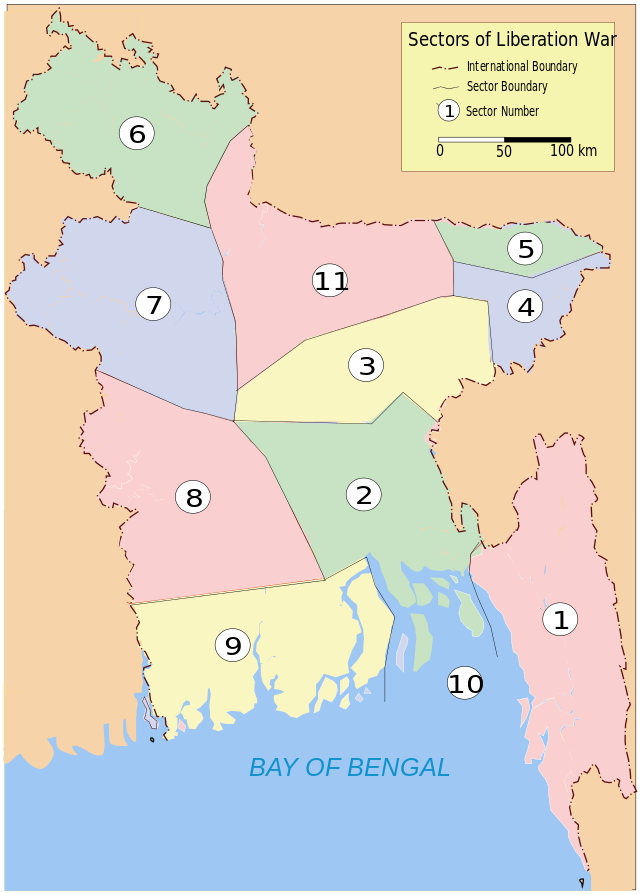 Bangladesh war sectors map